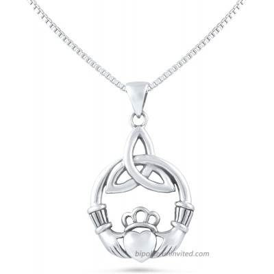 Sterling Silver Celtic Heart Claddagh Necklace