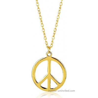 The Woo's Hippie Style Peace Sign Necklace Metal Love Peace Sign Hippie Pendant Necklace 1960s 1970s Hippie Party Dressing Accessories Jewelry for Women Men-Gold |