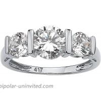 10K White Gold Round Cubic Zirconia 3 Stone Bridal Ring