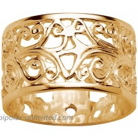 18K Yellow Gold over Sterling Silver Scroll Design Band Ring 11mm