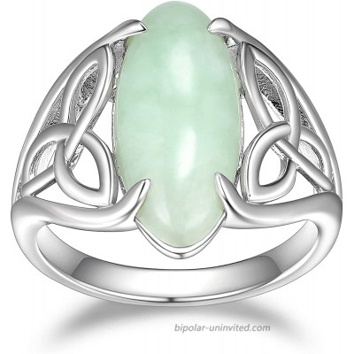 925 Sterling Silver Genuine Green Jade Celtic or Trinity Knot Band Satement Ring