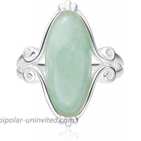925 Sterling Silver Marquise Genuine Green Jade Celtic Knot Band Statement Ring