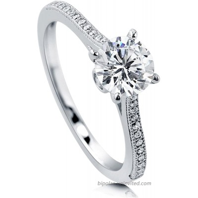 BERRICLE Rhodium Plated Sterling Silver Round Cubic Zirconia CZ Solitaire Promise Wedding Engagement Ring 1.2 CTW