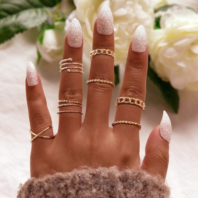 Bmadge Boho Criss Cross Joint Knuckle Rings Set Gold Twist Rings Cuff Vintage Stylish Mid Stack Finger Rings Jewelry for Women and Girls Style A