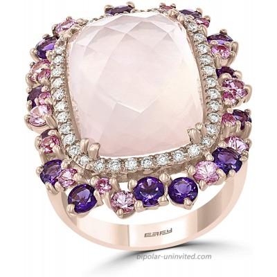 Effy 14K Rose Gold Rose Quartz Amethyst Pink Sapphire & Diamond Ring 14.15 TCW IRV0G315DM