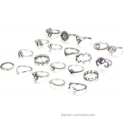 Finrezio 20 Pcs Knuckle Rings Vintage Stackable Midi Finger Ring Set for Women Girls Bohemian Retro Vintage Jewelry Style A Silver Tone