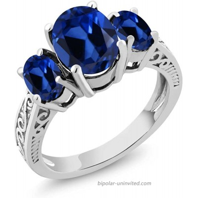 Gem Stone King 925 Sterling Silver Blue Created Sapphire 3-Stone Women Engagement Ring 3.51 Ct Oval Available 5 6 7 8 9 |