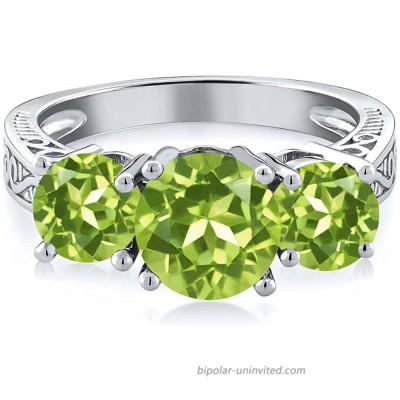 Gem Stone King 925 Sterling Silver Round Green VS Peridot 3-Stone Women's Ring 2.35 Carat Gemstone Birthstone Available 5 6 7 8 9