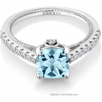 Gem Stone King 925 Sterling Silver Sky Blue Topaz and White Created Sapphire Women's Engagement Ring 2.30 Ct Cushion Gemstone Birthstone Available in size 5 6 7 8 9 |