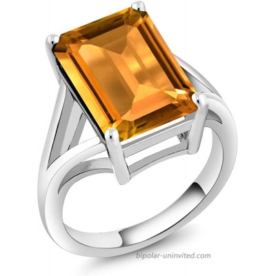 Gem Stone King 925 Sterling Silver Yellow Citrine Women's Solitaire Engagement Ring 8.20 Cttw Emerald Cut 14X10MM Gemstone Birthstone Available 5 6 7 8 9 |