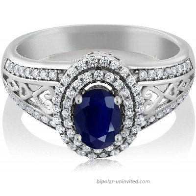 Gem Stone King Blue Sapphire 925 Sterling Silver Gemstone Birthstone Women's Ring 1.41 cttw Center Stone 6x4mm Available 5 6 7 8 9