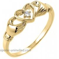 High Polish 14k Yellow Gold Diamond Solitaire Claddagh Ring