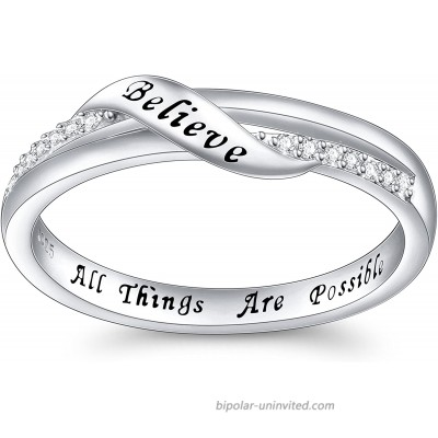 Inspirational Jewelry Sterling Silver Engraved Believe All Things are Possible Band Ring for Women Girlfriend Size 5-10