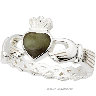 Irish Claddagh Ring Made in Ireland Sterling Silver with Connemara Marble and Weave Detail Made By the Artisans At Solvar in Co. Dublin Size 8