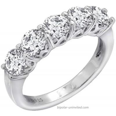 J'ADMIRE 2 carats Swarovski Zirconia Round 5 Stone Ring Platinum Plated Sterling Silver