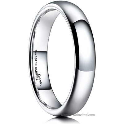 King Will Basic Men's 2mm 4mm 6mm 8mm High Polished Comfort Fit Domed Tungsten Carbide Ring Wedding Band |