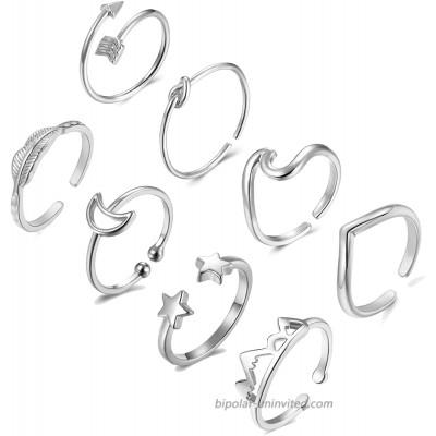 Long tiantian 8Pcs Open Rings Set for Women Silver Adjustable Arrow Wave Knot Stackable Thumb Finger Toe Rings Set Women Gift Jewelry Silver 8