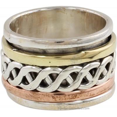 NOVICA .925 Sterling Silver Copper Brass Tri-Metal Meditation Spinner Ring 'Spinning Braid'