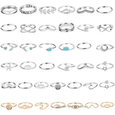 ONESING 38 Pcs Knuckle Rings for Women Stackable Rings Set Girls Bohemian Retro Vintage Joint Finger Rings Hollow Carved Flowers