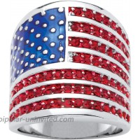 Palm Beach Jewelry Silver Tone Round Simulated Red Ruby and Enamel American Flag Ring