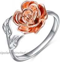 Rose Flower Ring for Women S925 Sterling Silver Adjustable Thumb Ring Size 8 Jewelry