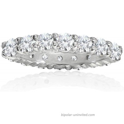 Sterling Silver Cubic Zirconia 3mm Round-Cut Anniversary Eternity Band Ring