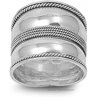 Sterling Silver Women's Bali Rope Ring Wide 925 Band Milgrain Fashion Sizes 5-12