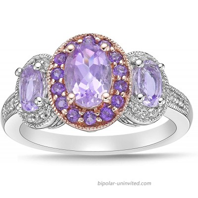 Two Tone 10K Rose Gold & .925 Sterling Silver Oval Cut Rose de France Amethyst and White Topaz Three Stone Halo Engagement Ring - Size 7 |