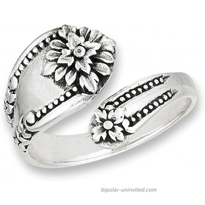 Victorian Flower Open Spoon Ring Vintage New 925 Sterling Silver Band Sizes 6-10