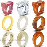 Yinkin 9 Pieces Resin Chunky Dome Rings Set Retro Colorful Transparent Acrylic Resin Statement Ring Art Decor Marble Pattern Ring Acrylic Tortoise Rings for Women Girls Jewelry