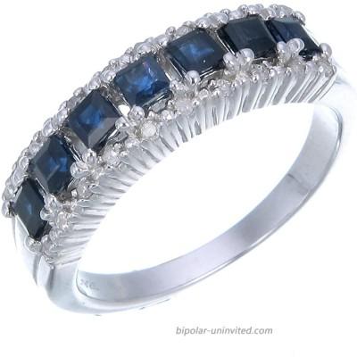 0.70 cttw Blue Sapphire & Diamond Wedding Band .925 Sterling Silver with Rhodium Vir Jewels