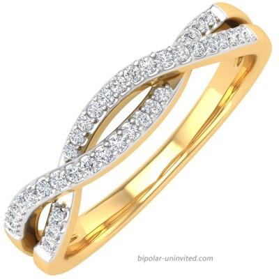 10K Gold Diamond Twisted Wedding Band Ring 0.13 Carat