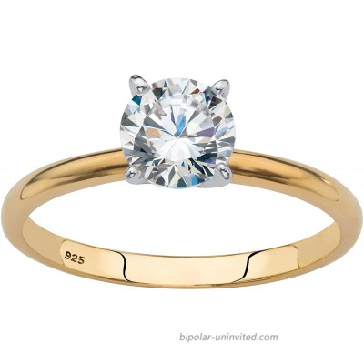 18K Yellow Gold over Sterling Silver Round Cubic Zirconia Solitaire Engagement Ring  
