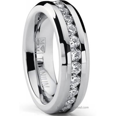 6MM Ladies Eternity Titanium Ring Cubic Zirconia Wedding Band with CZ Sizes 4 to 9