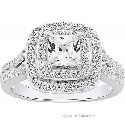 .925 Sterling Silver Cushion Cut Cubic Zirconia Split Shank Double Halo Engagement Ring  