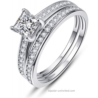 AVECON Engagement Wedding Ring Sets for Women 925 Sterling Silver 1.35ct Princess Cut White Cubic Zirconia Bridal Ring Sets Size 5-10