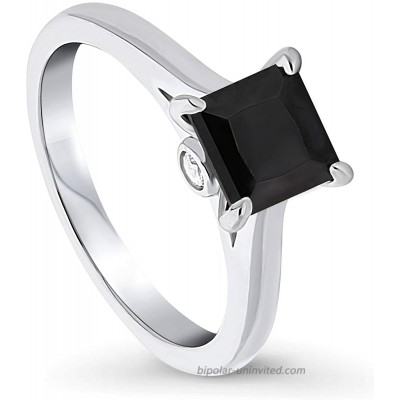BERRICLE Rhodium Plated Sterling Silver Black Princess Cut Cubic Zirconia CZ Solitaire Promise Wedding Ring 1.3 CTW