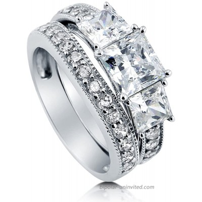 BERRICLE Rhodium Plated Sterling Silver Princess Cut Cubic Zirconia CZ 3-Stone Anniversary Wedding Engagement Ring Set 3.7 CTW |