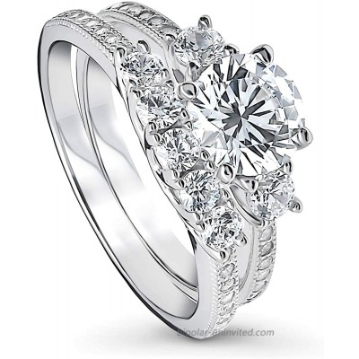 BERRICLE Rhodium Plated Sterling Silver Round Cubic Zirconia CZ 3-Stone Anniversary Wedding Engagement Ring Set 1.9 CTW