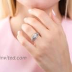 BERRICLE Rhodium Plated Sterling Silver Round Cubic Zirconia CZ Art Deco Halo Milgrain Wedding Engagement Ring 1.2 CTW |