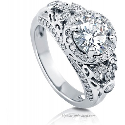 BERRICLE Rhodium Plated Sterling Silver Round Cubic Zirconia CZ Art Deco Halo Wedding Engagement Ring 2.6 CTW  