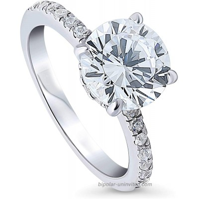 BERRICLE Rhodium Plated Sterling Silver Round Cubic Zirconia CZ Solitaire Hidden Halo Promise Wedding Engagement Ring 3 CTW |
