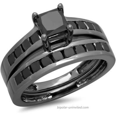 Dazzlingrock Collection 2.35 Carat ctw Black Rhodium Plated Princess Black Diamond Bridal Engagement Ring Set Sterling Silver