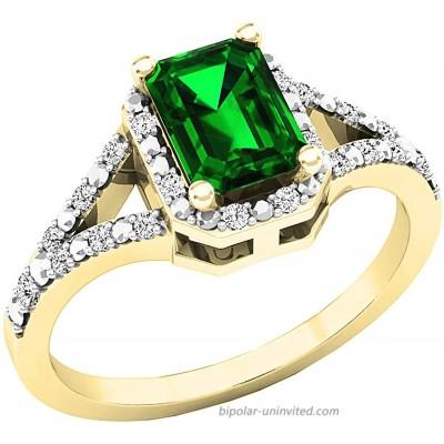Dazzlingrock Collection 7X5 MM Emerald Lab Created Emerald & Round Natural White Diamond Ladies Split Shank Engagement Ring 18K Gold  