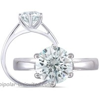DovEggs 2ct 8mm Round Cut 2.6mm Band Width Blue Tinted Moissanite Engagement Ring Platinum Plated Sterling Silver  