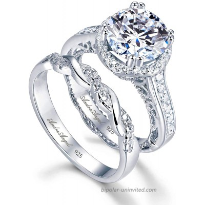 Engagement Ring Wedding Rhodium Plated Sterling Silver 925 100% Solid Cubic Zirconia Stones AAAAA+ Alternative to Diamonds 2.5 Carat Promise Anniversary Bridal Valentines Victoire Design