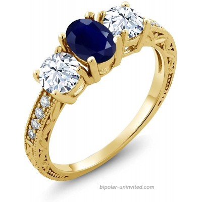 Gem Stone King 2.64 Ct Oval Blue Sapphire 18K Yellow Gold Plated Silver 3-Stone Engagement Ladies Ring Available 5 6 7 8 9 |
