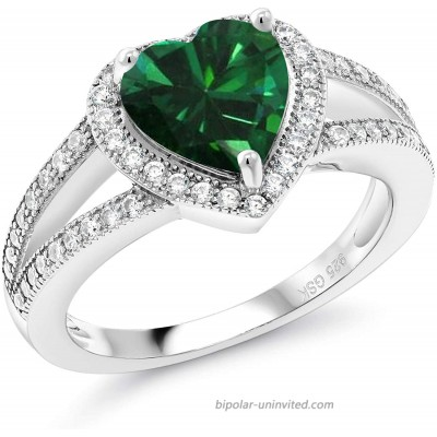 Gem Stone King 925 Sterling Silver Green Simulated Emerald Women Engagement Ring 2.21 Ct Heart Shape 8MM Available in size 5 6 7 8 9 |