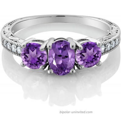 Gem Stone King 925 Sterling Silver Purple Amethyst Women's 3-Stone Engagement Ring 1.77 Ct Oval Gemstone Birthstone Available 5 6 7 8 9 |
