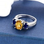 Gem Stone King 925 Sterling Silver Yellow Citrine and Blue Sapphire 3-Stone Women's Engagement Ring 2.25 Ct Oval Available 5 6 7 8 9 |